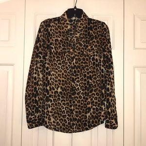 Express leopard print portofino shirt